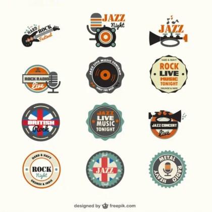 Music Genders Free Badges Free Vector