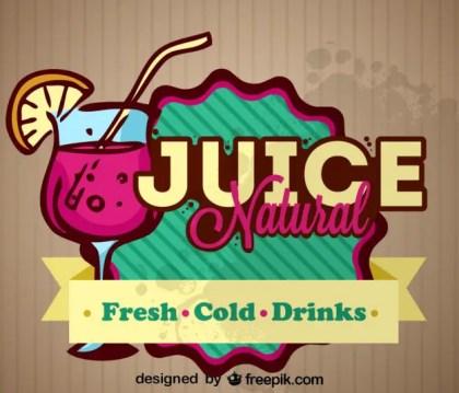 Natural Fresh Fruit Juice Retro Label Design Free Vector