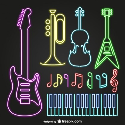 Neon Musical Instruments Free Vector