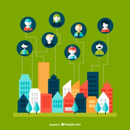 Networking Cityscape Free Vector