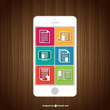 News Smartphone Reading Free Vector