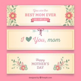 Nice Mothers Day Banners Free Vector