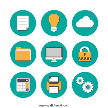 Office Flat Icons Free Collection Free Vector