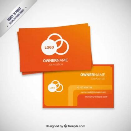 Orange Visit Card Template Free Vector