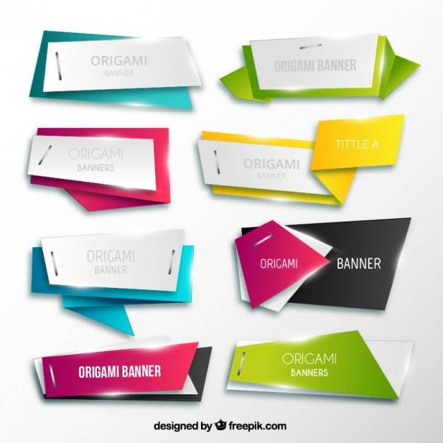 Origami Banners Collection Free Vector