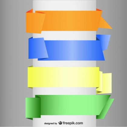 Origami Blank Banners Free Vector