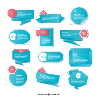 Origami Bue Infography Elements Free Vector