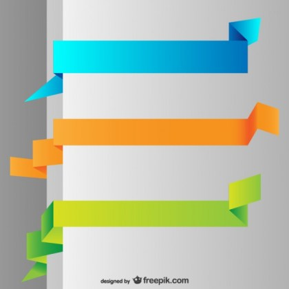 Origami Colorful Banners Free Vector
