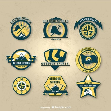 Outdoor Sports Badges Pack Free Vector