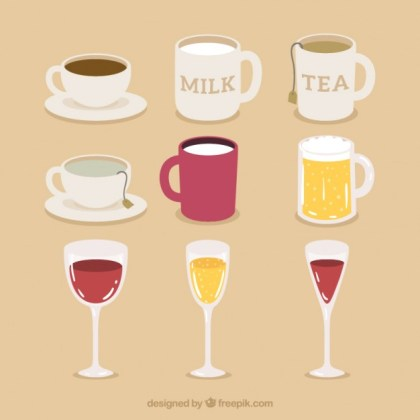 Pack Cups Mugs and Glasses Free Vector