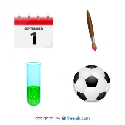 Pack of Graphs of School Elements Free Vector