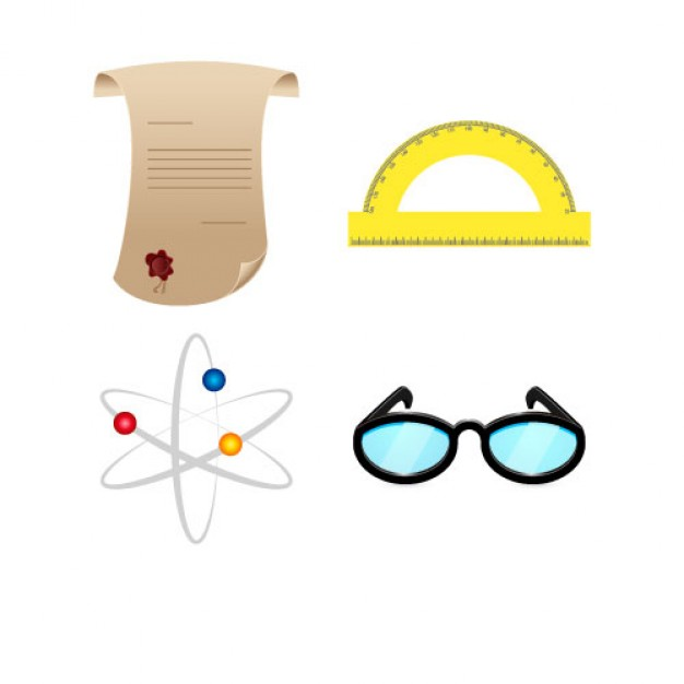 Pack of Science Objects Free Vector