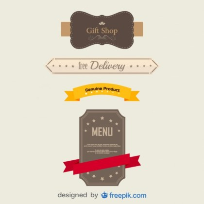 Pack of Vintage Banners Free Vector