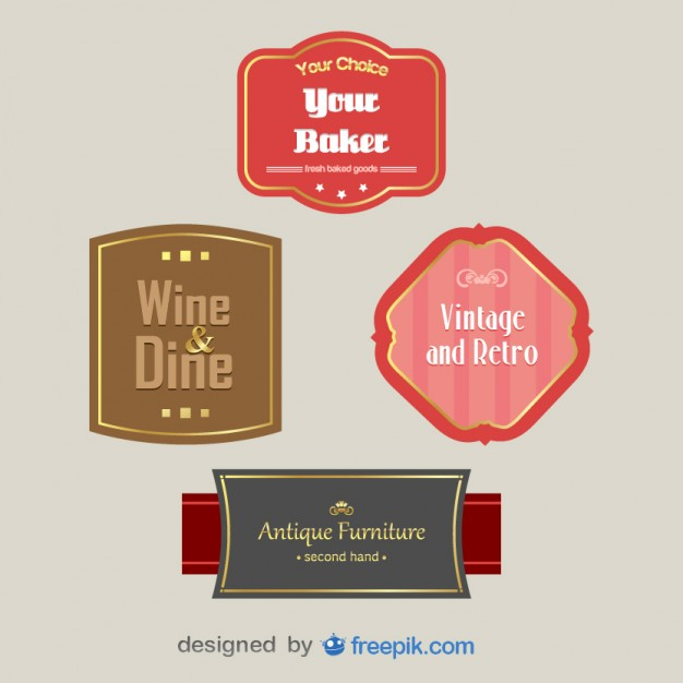 Pack of Vintage Labels Free Vector