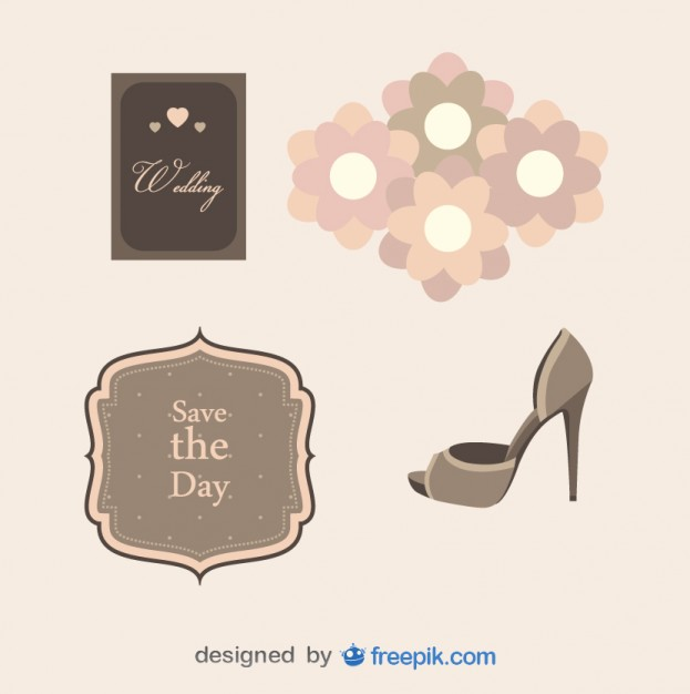 Pack of Wedding Objects Free Vector