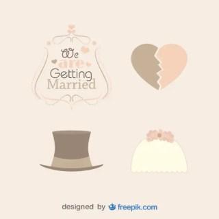 Pack Vintage Weddings Hats Free Vector