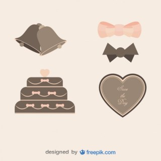 Pack Vintage Weddings Objects Free Vector