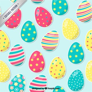 Pattern with Easter Eggs Free Vector
