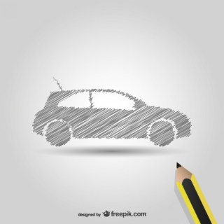 Pencil Drawing Car Symbol Free Vector