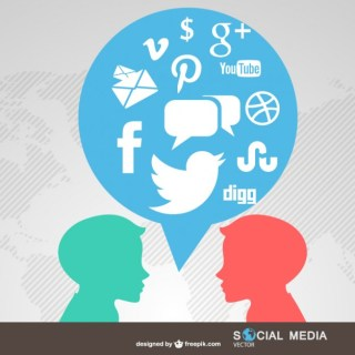 People Chatting Social Media Symbols Free Vector