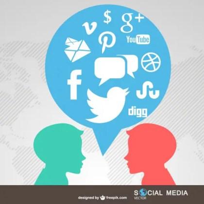 People Chatting Social Media Symbols Free Vector