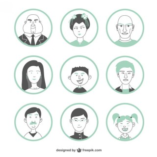 People Faces Free Vector