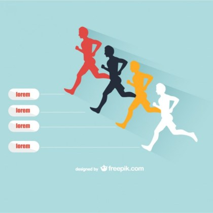 People Running Silhouettes Free Vector