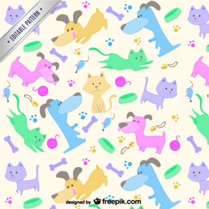 Pets Pattern Free Vector