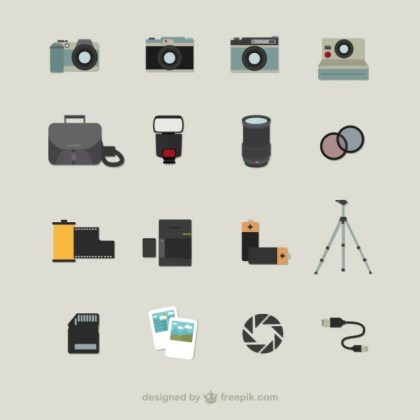 Photography Icons Free Vector