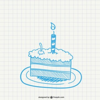 Piece of Cake with Candle Free Vector