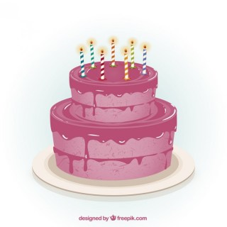 Pink Birthday Cake Free Vector