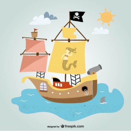 Pirate Ship Art Free Vector