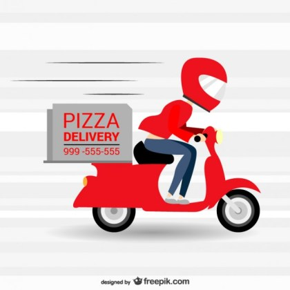 Pizzeria Fast Delivery Cartoon Free Vector