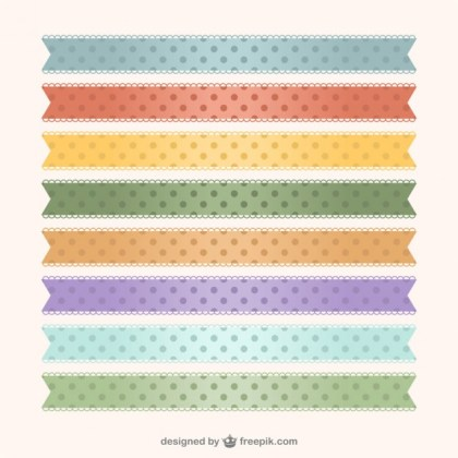 Polka Dots Ribbons Free Vector