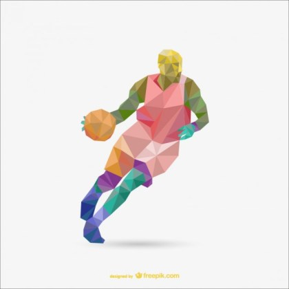 Polygon Origami Basketball Free Vector
