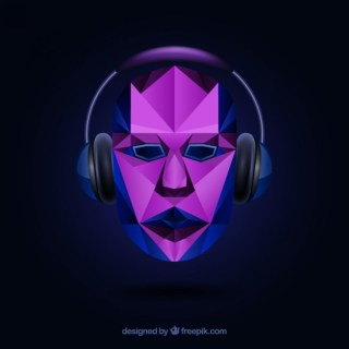 Polygonal Face with Headphones Free Vector