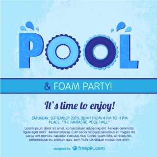 Pool Party Poster Template Free Vector