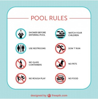 Pool Safety Rules Signs Free Vector