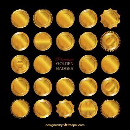Premium Golden Badges Free Vector