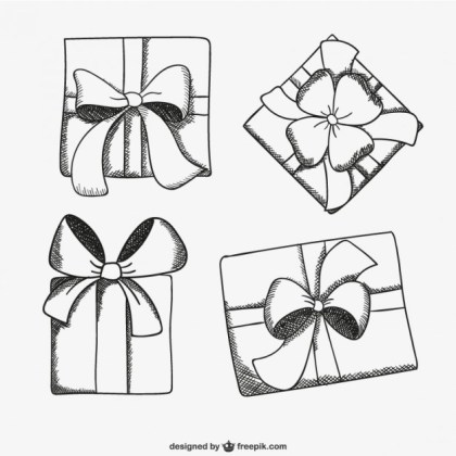 Present Box Sketch Drawings Free Vector