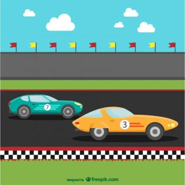 Racing Cars Cartoon Free Vector