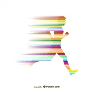 Rainbow Silhouette Running Free Vector