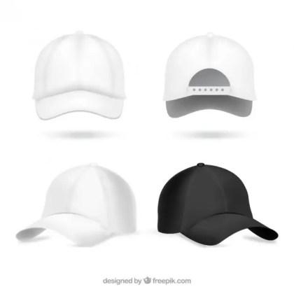 Realistic Baseball Caps Free Vector