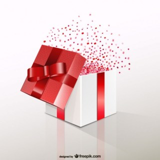 Red Gift Box with Confetti Free Vector