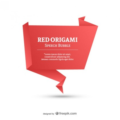 Red Origami Speech Bubble Template Free Vector