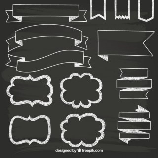 Retro Banners on Blackboard Free Vector