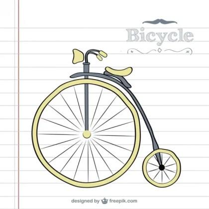 Retro Bicycle Doodle Free Vector