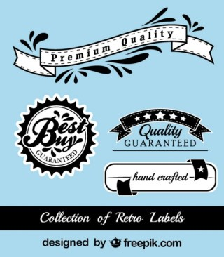 Retro Black and Blue Advertising Stickers Free Vector