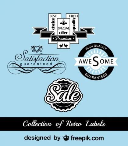 Retro Black and Blue Marketing Stickers Free Vector