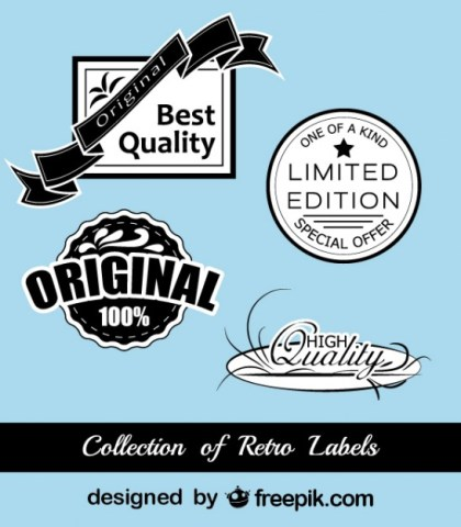 Retro Black and Blue Stickers Collection Free Vector